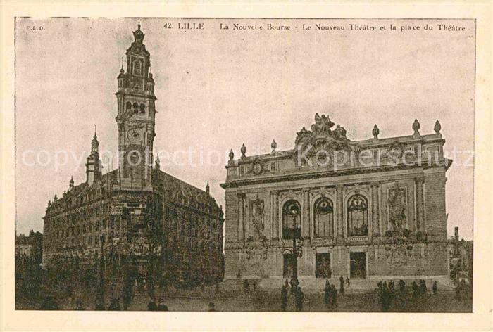 AK / Ansichtskarte Lille Nord La Nouvelle Bourse Place du Theatre Kat. Lille