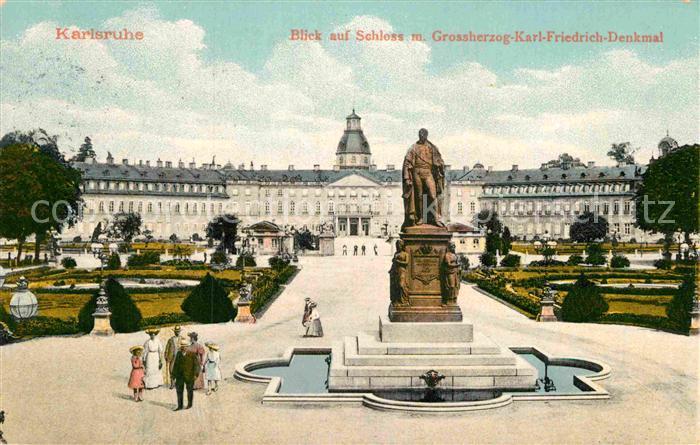 AK / Ansichtskarte Karlsruhe Baden Schloss Karl Friedrich Denkmal