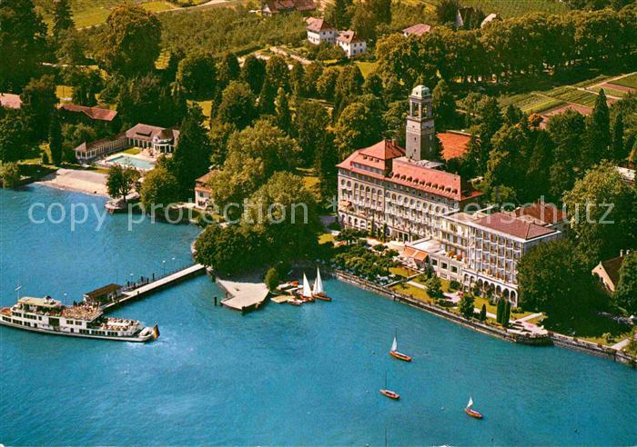 AK / Ansichtskarte Bad Schachen Lindau Hotel Restaurant Bootsanleger Faehre Fliegeraufnahme Kat. Lindau (Bodensee)