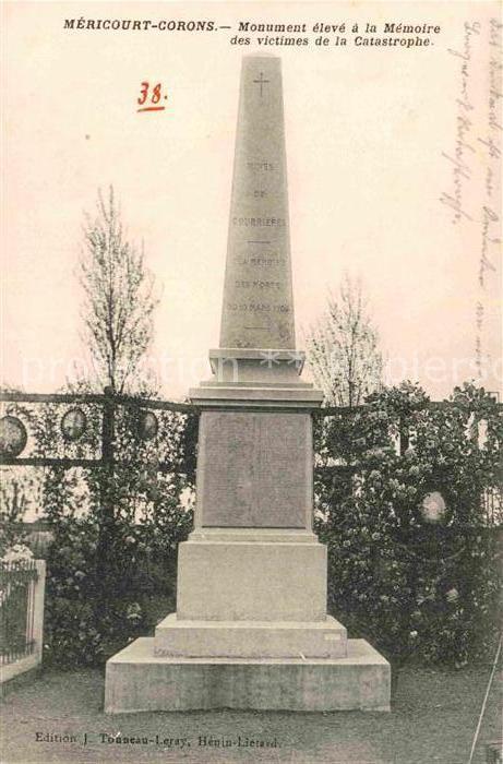AK / Ansichtskarte Mericourt Corons Monument eleve a la Memoire des victimes de la catastrophe