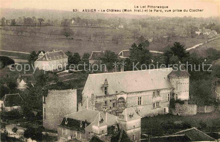 AK / Ansichtskarte Assier Chateau Monument historique Parc vue prise du Clocher Kat. Assier