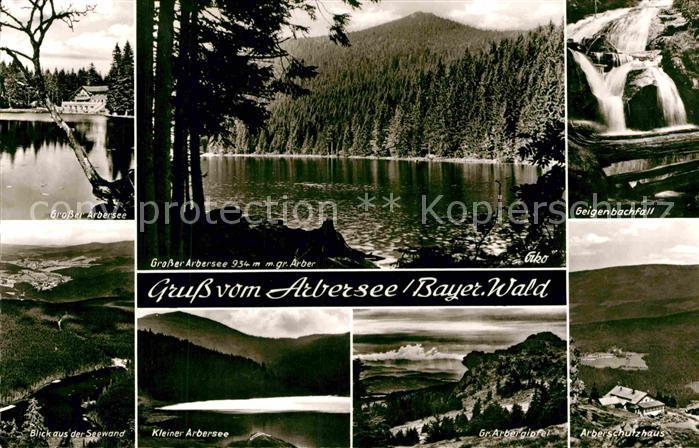 AK / Ansichtskarte Arbersee Grosser Arbersee Kleiner Arbersee Seewand Geigenbachfall Wasserfall Gipfel Arberschutzhaus Bayerischer Wald Kat. Bayerisch Eisenstein