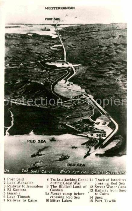 AK / Ansichtskarte Port Said Birds eye view on the Suez Canal Red Sea Kat. Port Said