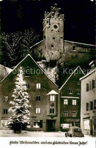 AK / Ansichtskarte Fuessen Allgaeu Marktplatz Christbaum Schloss Weihnachtskarte Neujahrskarte Kat. Fuessen