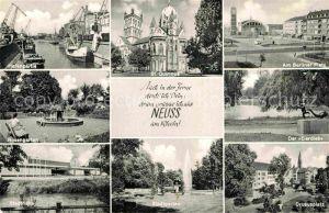 AK / Ansichtskarte Neuss Hafen Rosengarten Stadthalle St Quirinus Kirche Stadtgarten Berliner Platz Eierdieb Statue Drususplatz Kat. Neuss