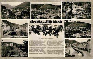 AK / Ansichtskarte Wildbad Schwarzwald Panorama Trinkhalle Sommerberg Partie an der Enz Lied