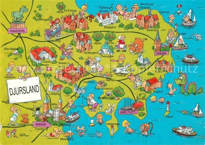 AK / Ansichtskarte Arhus Landkarte Djursland Kat. Arhus