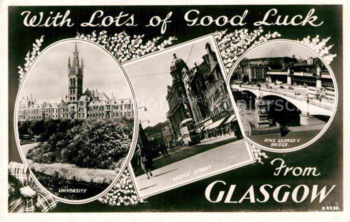 AK / Ansichtskarte Glasgow University Argyle Street King George V Bridge Kat. Glasgow City