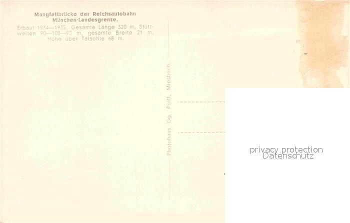 Ak Ansichtskarte Mang St Mangfallbruecke Reichsautobahn Muenchen Landesgrenze Kat Kempten Allgaeu