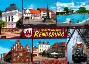 AK / Ansichtskarte Rendsburg Schlossplatz Freibad Theater Schwebefaehre Altstaedter Markt Rathaus Kat. Rendsburg