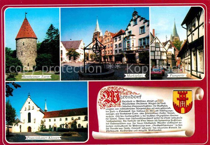 AK / Ansichtskarte Warendorf Bentheimer Turm Franziskaner Kloster Pumperie Marktplatz Kat. Warendorf