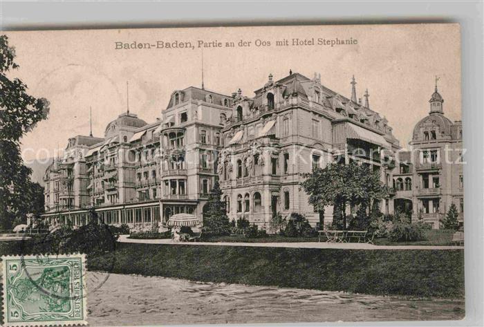 AK / Ansichtskarte Baden Baden Partie an der Oos mit Hotel Stephanie Kat. Baden Baden