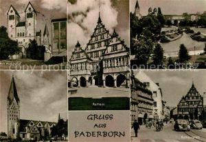 AK / Ansichtskarte Paderborn Abdinghof Paderquellgebiet Rathausplatz Rathaus Dom Kat. Paderborn