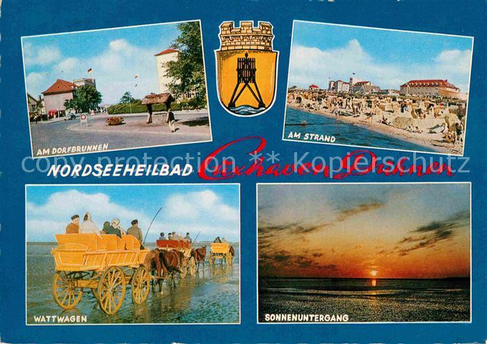 AK / Ansichtskarte Duhnen Nordsee Dorfbrunnen Strand Wattwagen Sonnenuntergang am Meer Kat. Cuxhaven