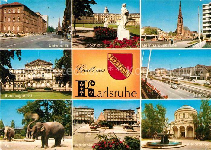 AK / Ansichtskarte Karlsruhe Baden Bahnhof Bernharduskirche Marktplatz