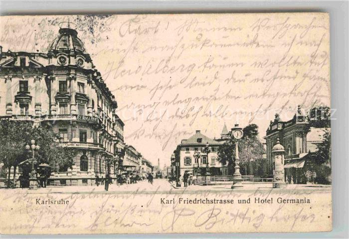 AK / Ansichtskarte Karlsruhe Baden Karl Friedrich Strasse mit Hotel Germania
