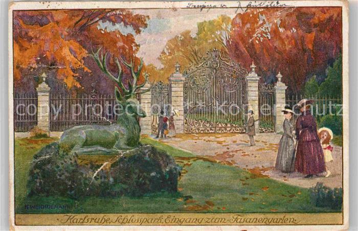 AK / Ansichtskarte Karlsruhe Baden Schlosspark Eingang zum Fasanengarten