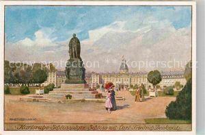 AK / Ansichtskarte Karlsruhe Baden Schlossplatz Schloss mit Carl Friedrich Denkmal