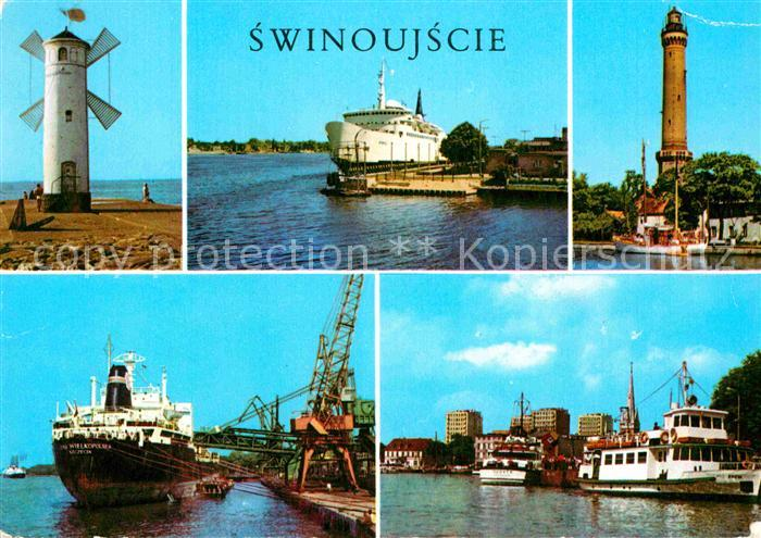 AK / Ansichtskarte Swinoujscie Swinemuende Leuchtturm Hafen Windmuehle