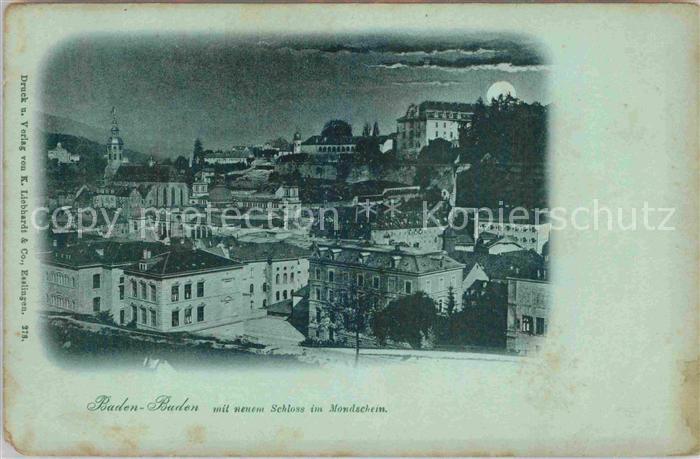 AK / Ansichtskarte Baden Baden mit neuem Schloss bei Mondschein Kat. Baden Baden