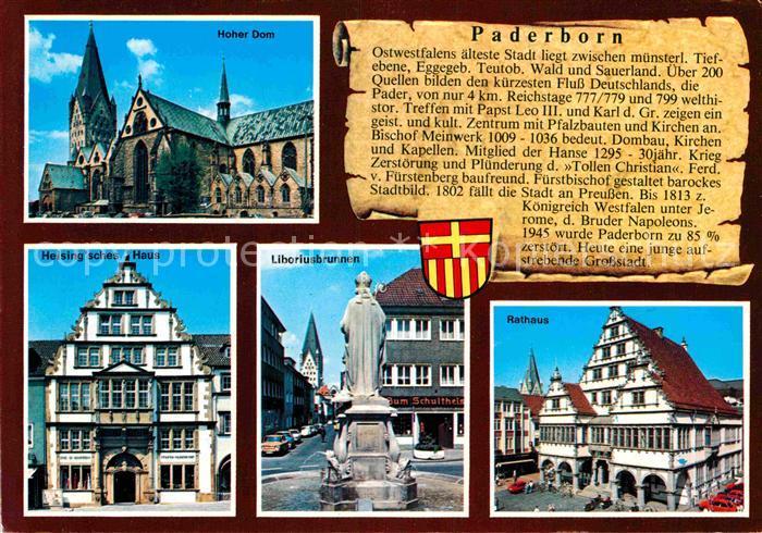 AK / Ansichtskarte Paderborn Hoher Dom Heisingsches Haus Liboriusbrunnen Rathaus Kat. Paderborn