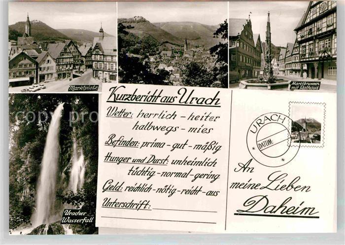 AK / Ansichtskarte Bad Urach Marktplatz Wasserfall Marktplatz Rathaus Kat. Bad Urach