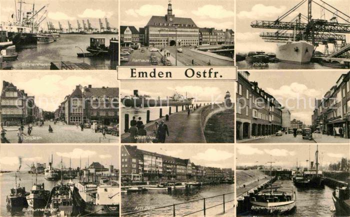 AK / Ansichtskarte Emden Ostfriesland Rathaus Binnenhafen Grosse Strasse Borkumanleger Binnenschleuse Kat. Emden