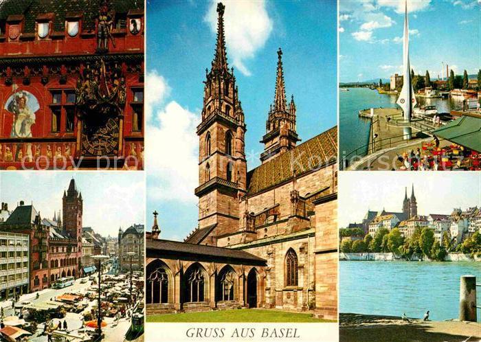 AK / Ansichtskarte Basel BS Marktplatz Rathaus Muenster Partie am Rhein Kat. Basel