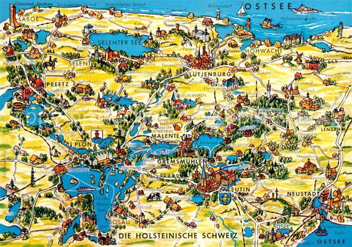Ak Ansichtskarte Ploen See Landkarte Holsteinische Schweiz Kat
