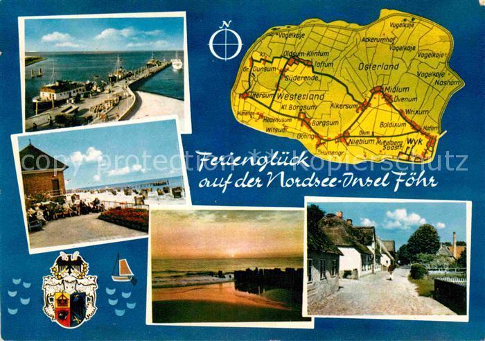 AK / Ansichtskarte Insel Foehr Hafen Strand Dorfpartie Abendstimmung am Meer Landkarte Kat. Wyk auf Foehr