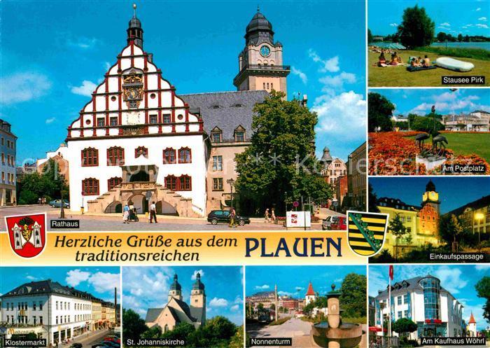 AK / Ansichtskarte Plauen Vogtland Rathaus Stausee Postplatz Skulptur Einkaufspassage Kaufhaus Nonnenturm Kirche Klostermarkt Kat. Plauen