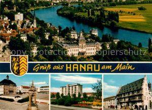 AK / Ansichtskarte Hanau Main Panorama Blick ueber den Main Schloss Platz Hochhaus Historisches Gebaeude Kat. Hanau