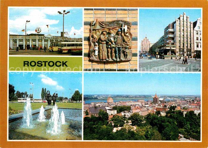 AK / Ansichtskarte Rostock Mecklenburg Vorpommern Hauptbahnhof Terrakotta Giebelhaus Wasserspiel Hotel Warnow Stadtzentrum Kat. Rostock