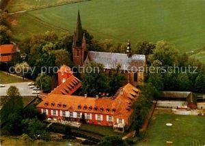 AK / Ansichtskarte Rieste Osnabrueck Gaststaette Kirche Fliegeraufnahme