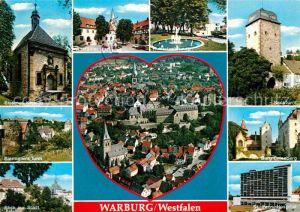 AK / Ansichtskarte Warburg Westfalen Erasmus Kapelle Biermanns Turm Altstaedter Markt Hubertusbrunnen Sackturm Burg Calenberg Hospital Kat. Warburg