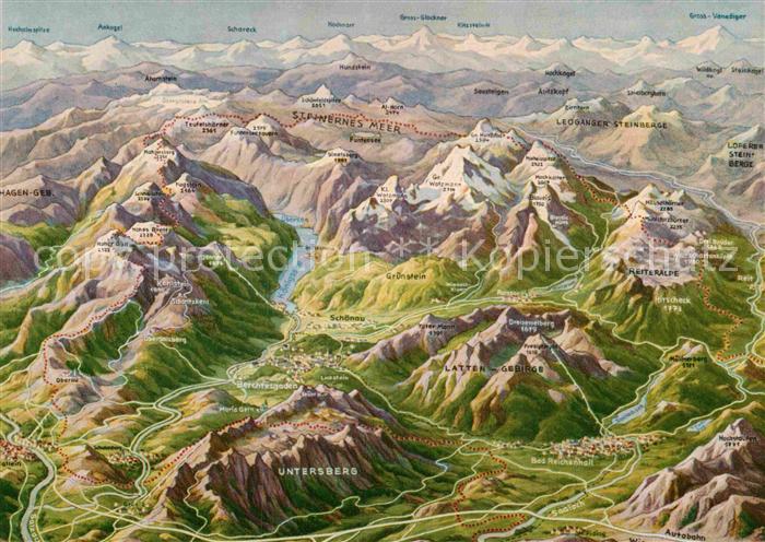 Berchtesgadener Land Karte.Ak Ansichtskarte Berchtesgaden Landkarte Kat Berchtesgaden
