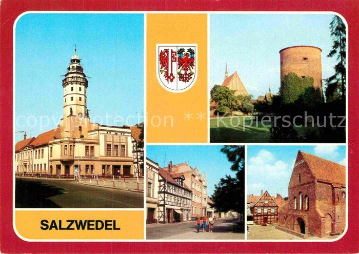 AK / Ansichtskarte Salzwedel Hotel Schwarzer Adler Burgturm Lorenzkirche Kat. Salzwedel