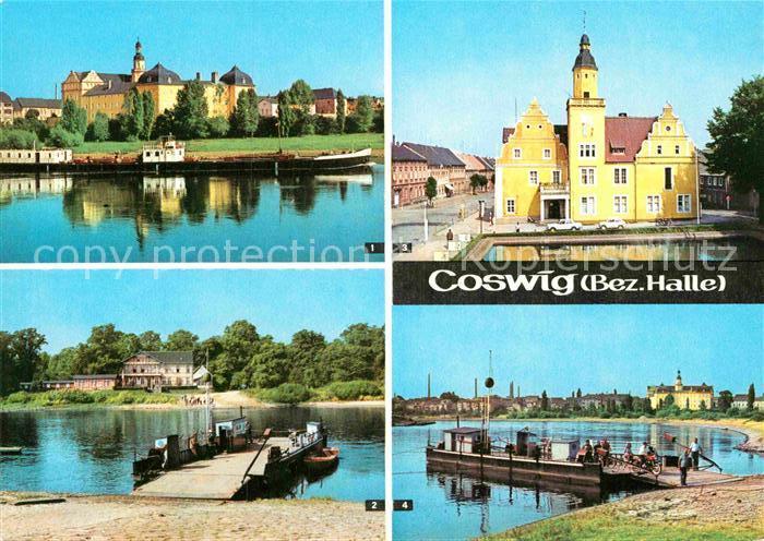 AK / Ansichtskarte Coswig Sachsen Schloss Elbfaehre Rathaus Elbe Kat. Coswig