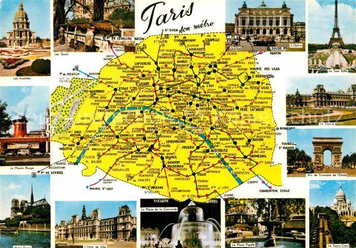 Karte Paris Eiffelturm.Ak Ansichtskarte Paris Stadtplan Eiffelturm Triumpfbogen Louvre Oper Moulin Rouge Kat Paris