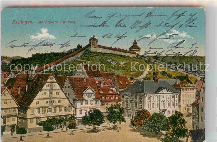 AK / Ansichtskarte Esslingen Neckar Marktplatz Burg Kat. Esslingen am Neckar