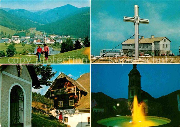 AK / Ansichtskarte Rettenegg Teilansicht Stuhlegg Gipfelkreuz Bauernhaus Springbrunnen Kat. Rettenegg
