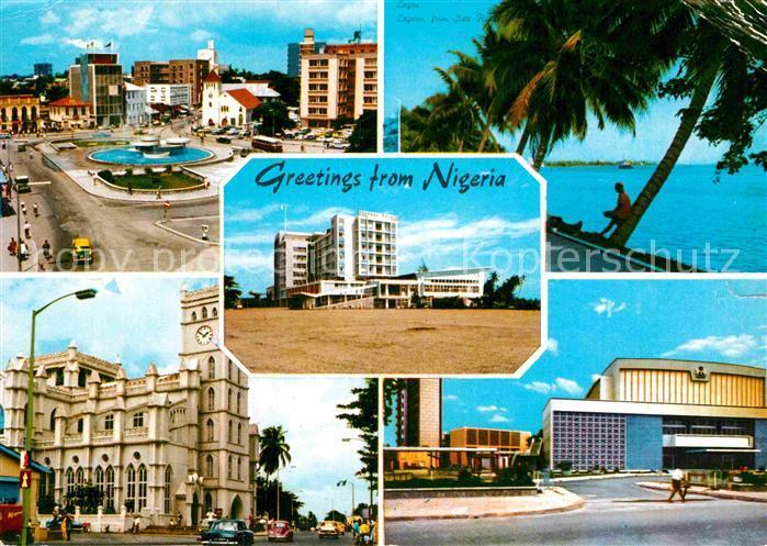 AK / Ansichtskarte Lagos Nigeria Teilansichten Innenstadt Gebaeude Hotel Uferpartie am Meer