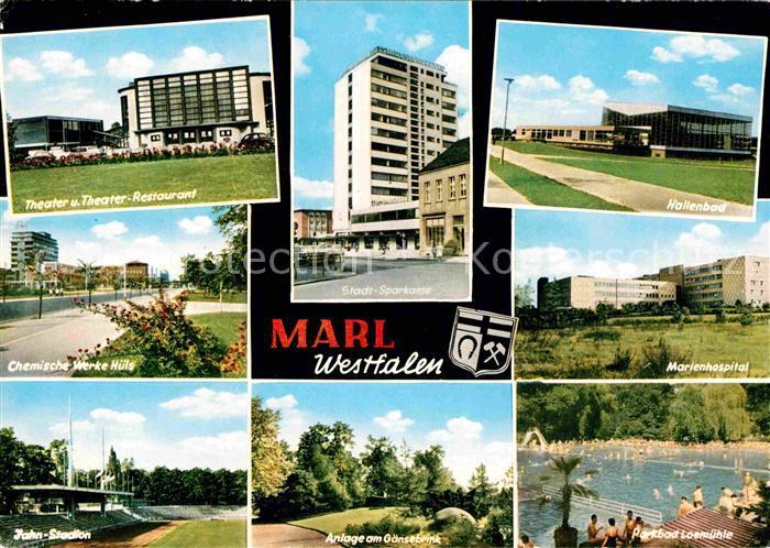 AK / Ansichtskarte Marl Westfalen Theater Chemische Werke Huels Marienhospital Kat. Marl