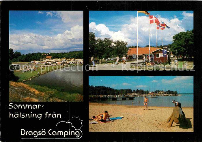 AK / Ansichtskarte Karlskrona Dragsoe Camping Strand Kat. Karlskrona