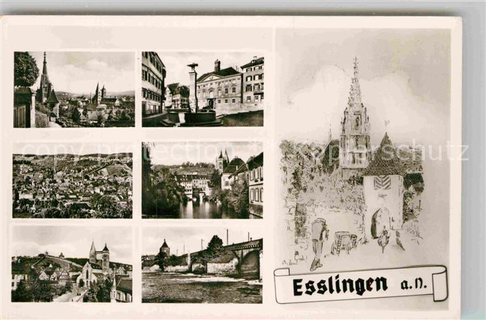 Ak Ansichtskarte Esslingen Neckar Stadtblick Brunnen Stadt Und
