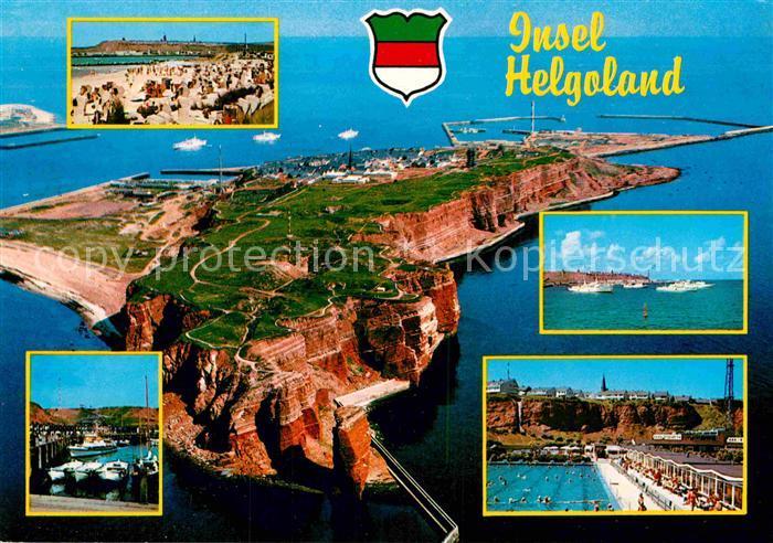 AK / Ansichtskarte Insel Helgoland Nordseebd Fliegeraufnahme Badestrand Hafen Freibad Kat. Helgoland