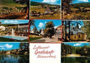 AK / Ansichtskarte Grafschaft Sauerland Teilansichten Luftkurort Freibad Teich Ortsmotiv mit Kirche Kat. Schmallenberg