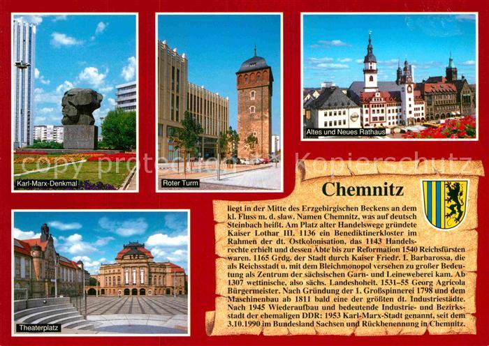 AK / Ansichtskarte Chemnitz Karl Marx Denkmal Roter Turm Rathaus Theaterplatz Kat. Chemnitz