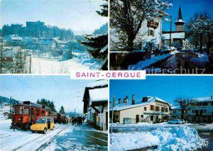 AK / Ansichtskarte Saint Cergue VD Teilansicht Bahnhof Kirche Gasthaus