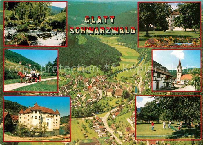 AK / Ansichtskarte Glatt Sulz Pferdekutsche Fliegeraufnahme Schloss  Kat. Sulz am Neckar
